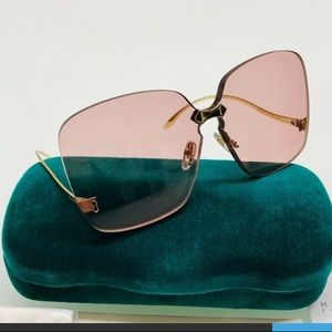 Brand new Gucci pink lens rimless glasses.